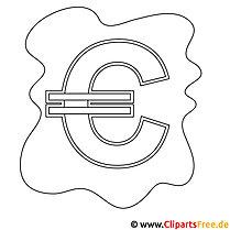 Euro Bild zum Ausmalen, Malvorlage, Ausmalbild
