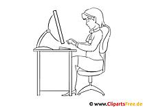 Frau im Büro Malvorlage