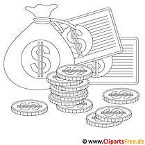 Geld Bild zum Ausmalen, Malvorlage, Ausmalbild
