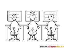 Kollegen arbeiten im Büro Malvorlage