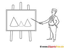 Mann erklärt Diagramm Malvorlage