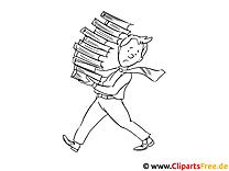 Mann trägt Stapel Bücher Malvorlage