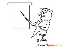 Schwein hält Vortrag Malvorlage