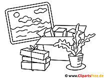 Vorlage zum Drucken und Malen Bild, Pflanze, Bücherstappel