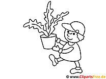 Vorlage zum Drucken und Malen Gärtner und Pflanze