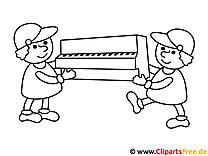 Vorlage zum Drucken und Malen Klavier wird umgezogen, Umzug