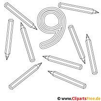 Neun Bleistifte Ausmalbild