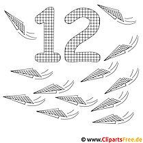 Zahl 12 - Zahlenmalvorlagen