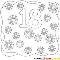 Zahl 18 Ausmalbild